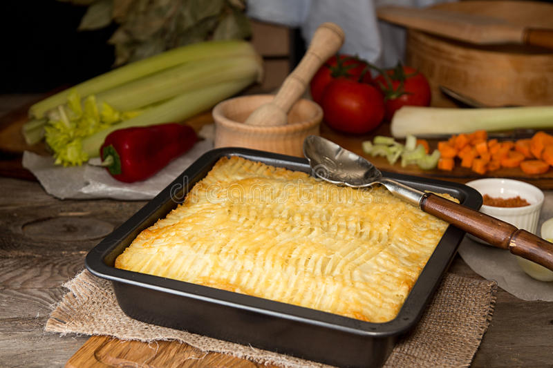 Shepherd`s pie traditional english dish. Pie on plate. Recipe with minced beef lamb carrot onion celery mashed potato baked in casserole. Rustic style. & Shepherd`s Pie Traditional English Dish. Recipe With Minced Beef ...