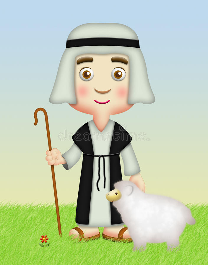 Shepherd with Sheep. Shepherd holding staff with sheep royalty free illustration