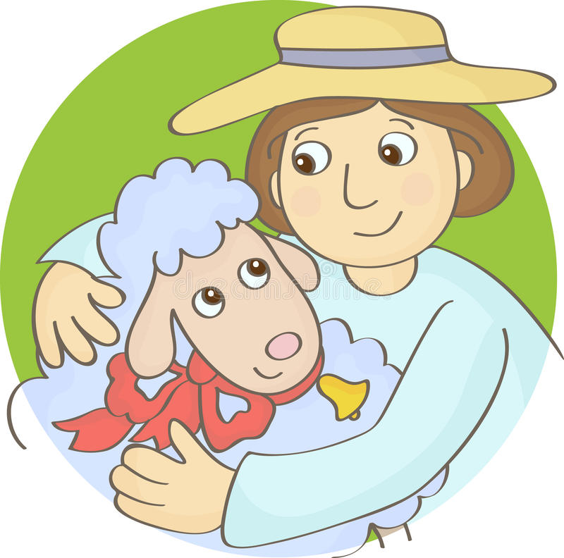 Shepherd and Sheep. The Shepherd and Sheep embrace vector illustration