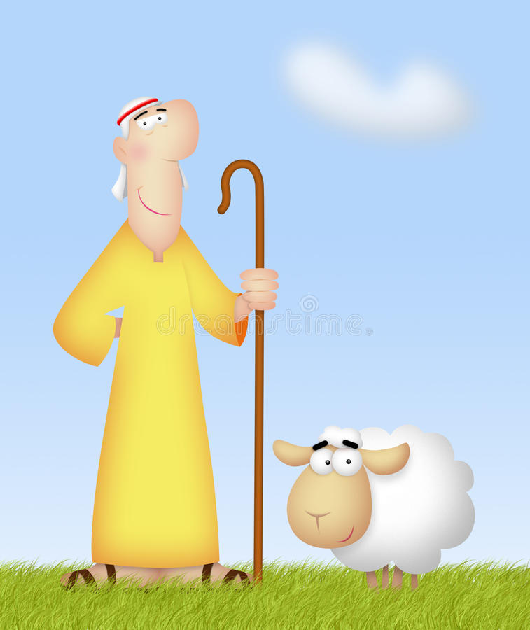 Shepherd With Sheep. Shepherd with his cute sheep stock illustration