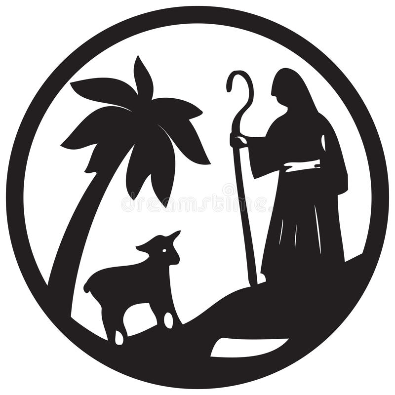 Shepherd and Sheep silhouette icon illustration black on. White background. Scene of the Holy Bible royalty free illustration
