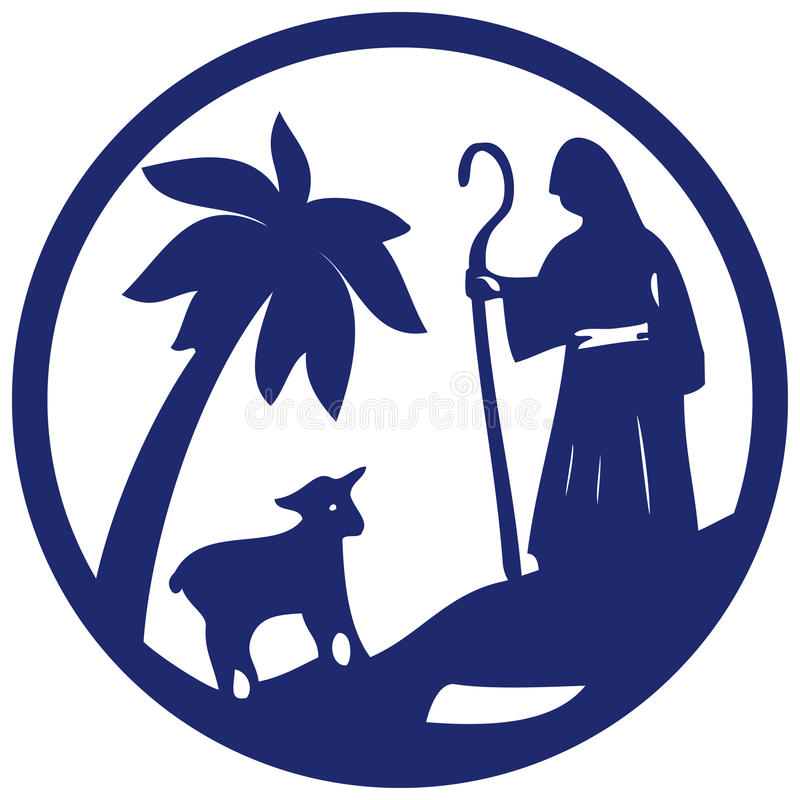 Shepherd and Sheep silhouette icon illustration blue on w. Hite background. Scene of the Holy Bible vector illustration