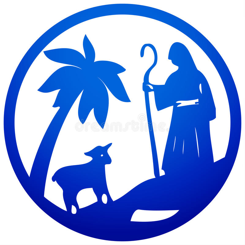 Shepherd and Sheep silhouette icon illustration blue on w. Hite background. Scene of the Holy Bible stock illustration