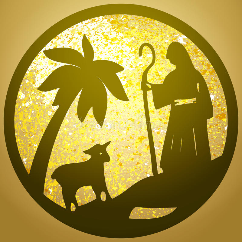 Shepherd and Sheep silhouette icon illustration gold back. Ground. Scene of the Holy Bible royalty free illustration