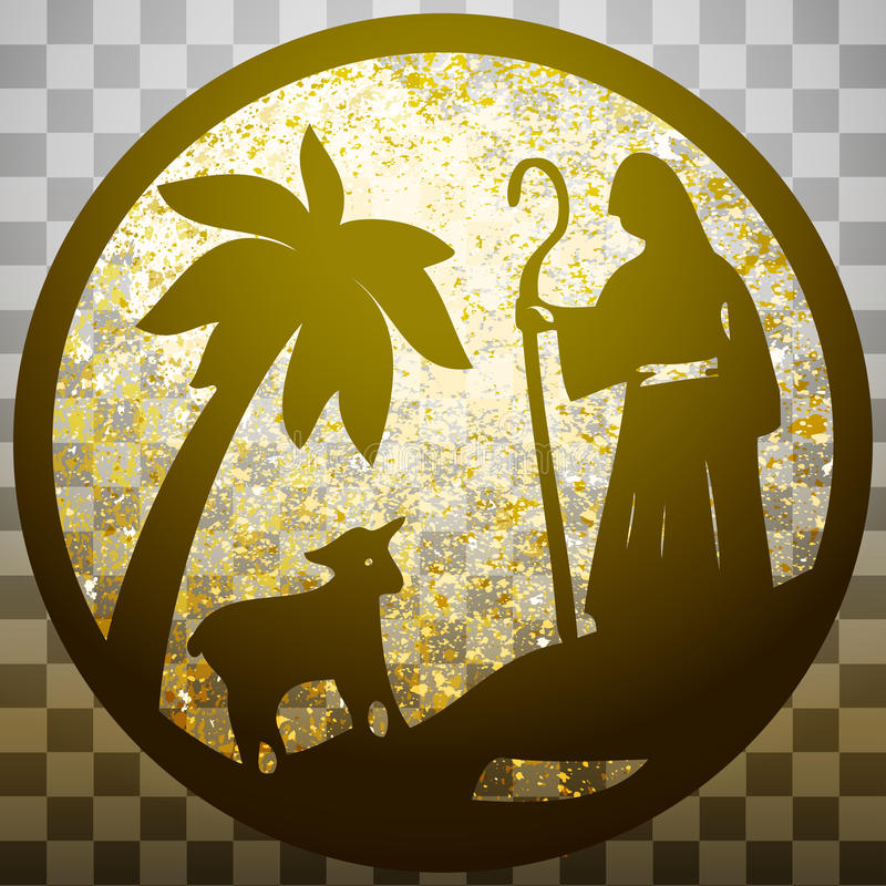 Shepherd and Sheep silhouette icon illustration gold on g. Ray transparent background. Scene of the Holy Bible stock illustration
