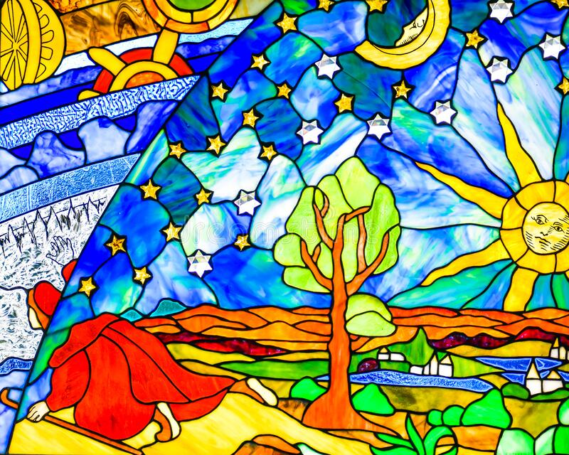 Shepherd, Village, Sun, Moon, Stars Stained Glass royalty free stock image