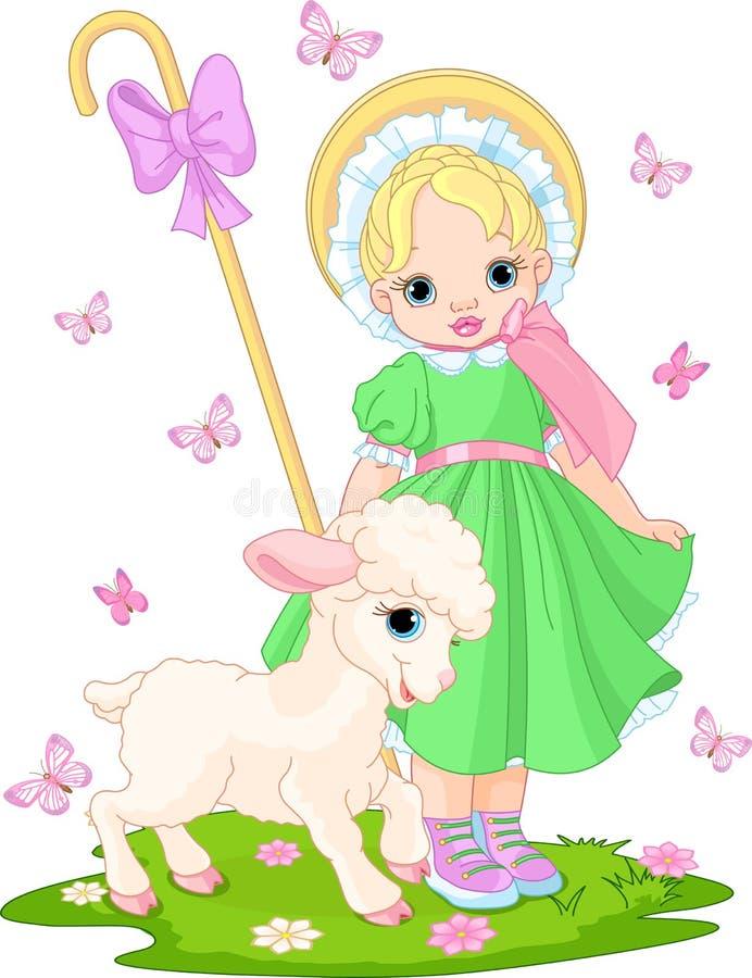 Shepherdess pequeno com cordeiro ilustração stock