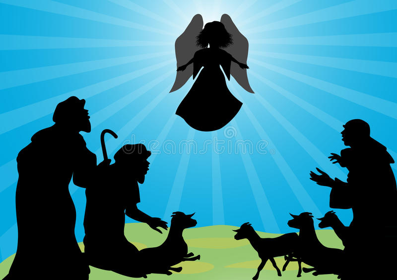 Shepherds and angel silhouette royalty free illustration