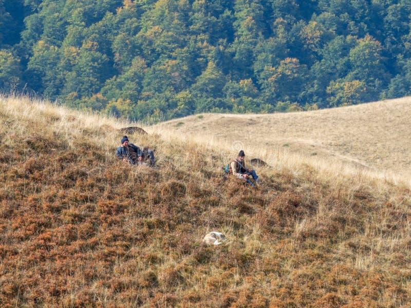 Shepherds in Baiu Mountains, Romania. Azuga/Romania - September 28 2019: Shepherds in Baiu Mountains. The Baiu Mountains are located in central Romania, a few royalty free stock photos