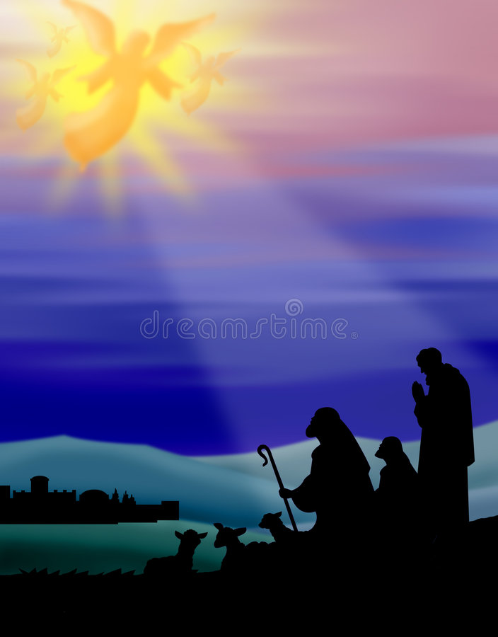 Shepherds of Bethlehem. Illustration of the heavenly host of angels proclaiming Christ's birth to the lowly shepherds of Bethlehem,silhouette with colorful