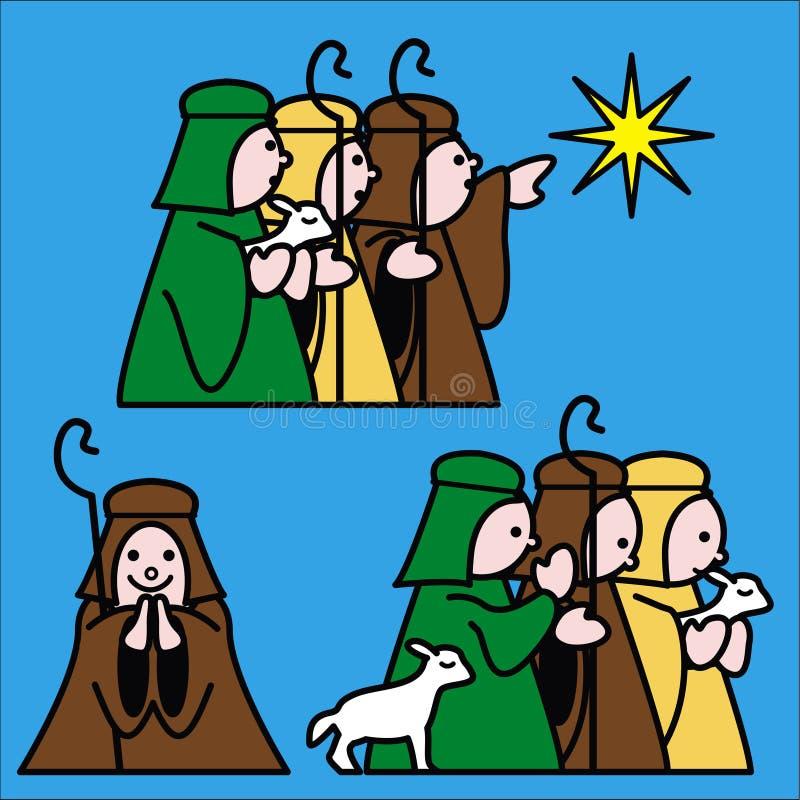 Shepherds le bleu illustration de vecteur