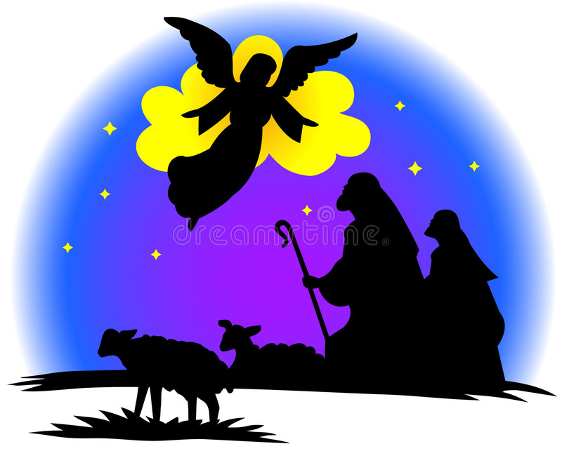 Shepherds silhouette vector illustration