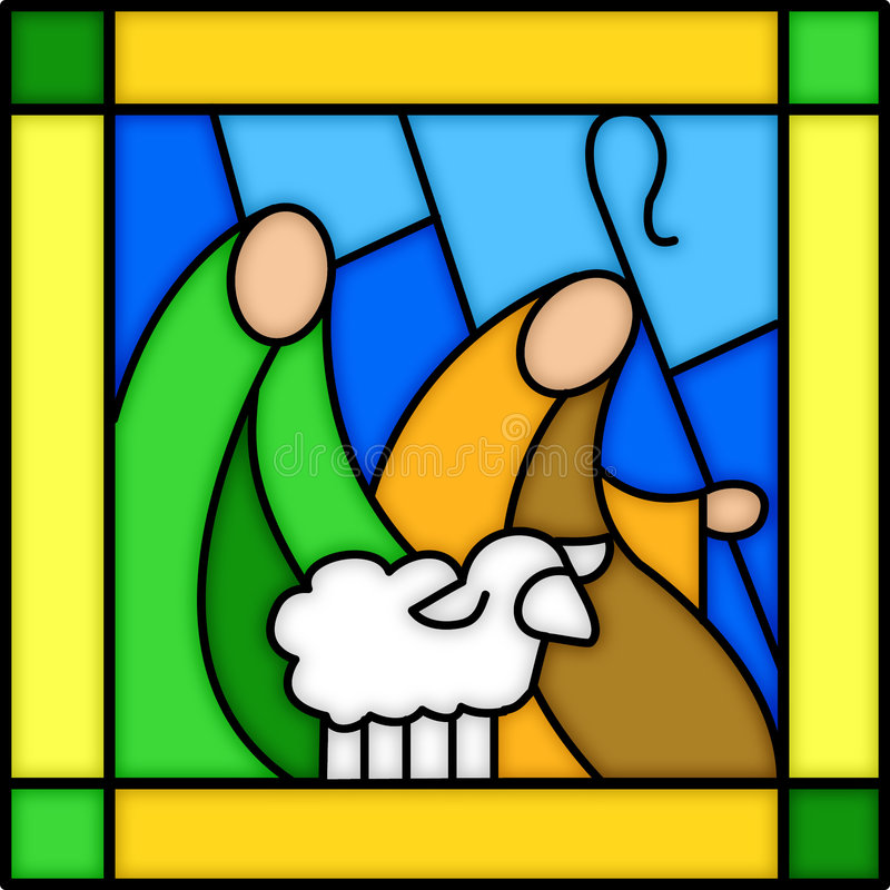 Shepherds in stained glass stock illustration