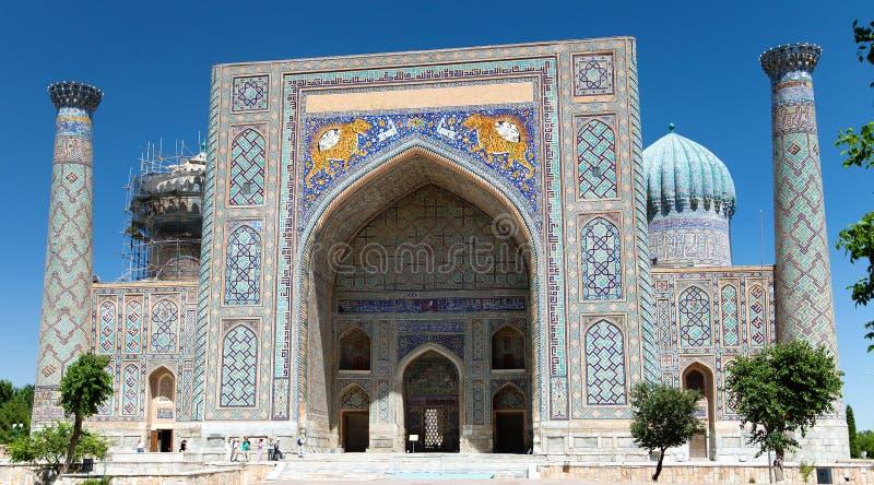 Sher Dor Medressa - Registan - Samarkand - Usbekistan lizenzfreie stockfotos