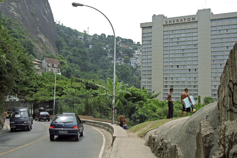 Sheraton hotel and favela of Rio de Janeiro royalty free stock photo