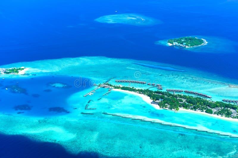 Sheraton Maldives Full Moon Island Resort & Spa. Aerial view of Sheraton Maldives Full Moon Island Resort & Spa stock photo