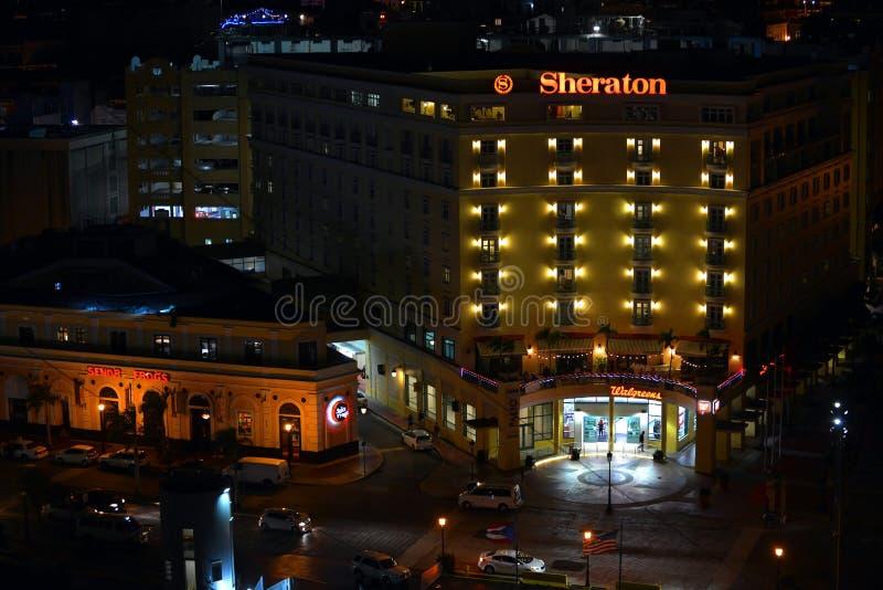 Sheraton San Juan alla notte fotografia stock libera da diritti