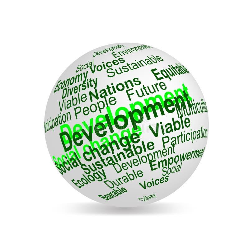 El desarrollo sostenible llama la esfera stock de ilustración