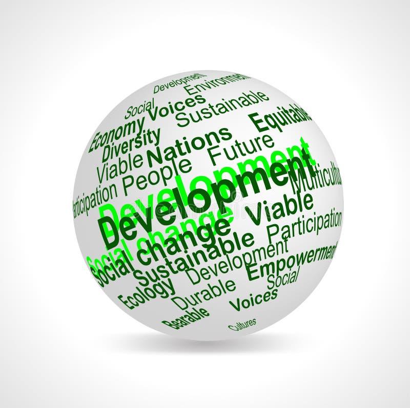 El desarrollo sostenible llama la esfera ilustración del vector