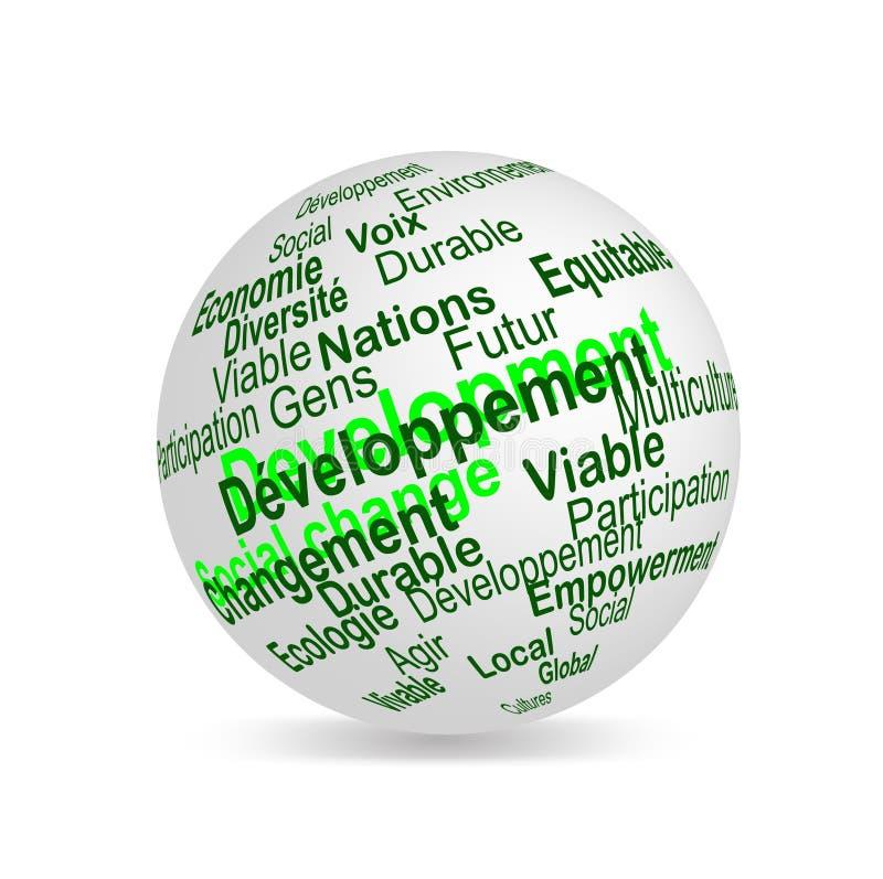 O desenvolvimento sustentável denomina a esfera (francesa) ilustração do vetor