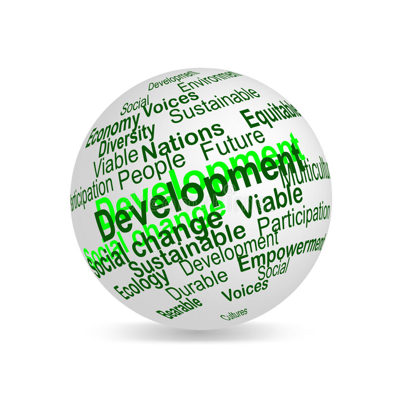 Sustainable development word cloud 3D terms sphere stock illustration