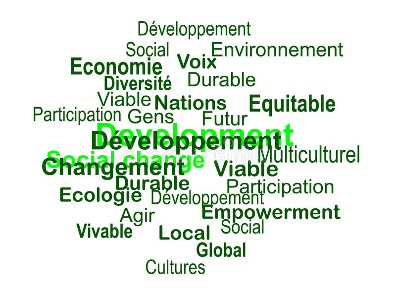 Développement durable - nuage de mots (français) stock images