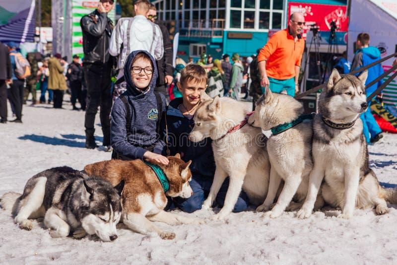 Sheregesh, Region Kemerovo, Russland - 13. April 2019 Zwei Jungen kontaktieren sich mit sibirischen Husky-Hunden auf Schnee stockbilder