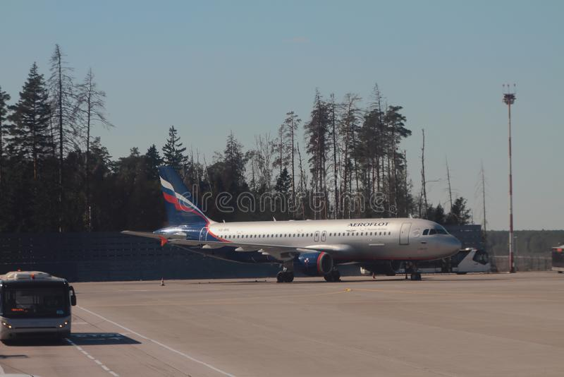 Sheremetyevo, Moskau, Russland - 14. September 2018: Fläche 'S Vavilov 'auf Parken am Flughafen lizenzfreies stockbild