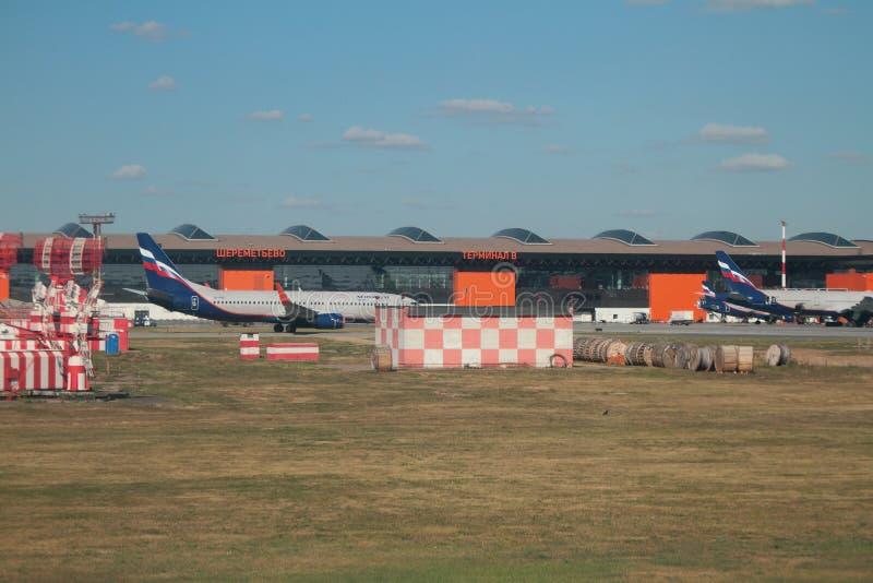 Sheremetyevo, Moskau, Russland - 14. September 2018: Flugplatz und Fluggastterminal stockfotos