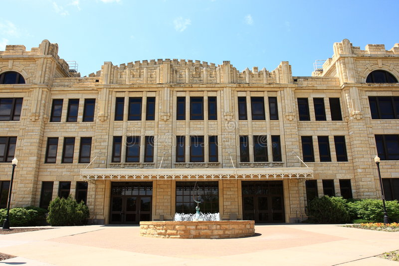 Sheridan Hall Fort Hays State University. Sheridan Hall was built in 1916-1917 as a 2,000 seat arena an now houses the student services offices of FHSU. Fort stock images