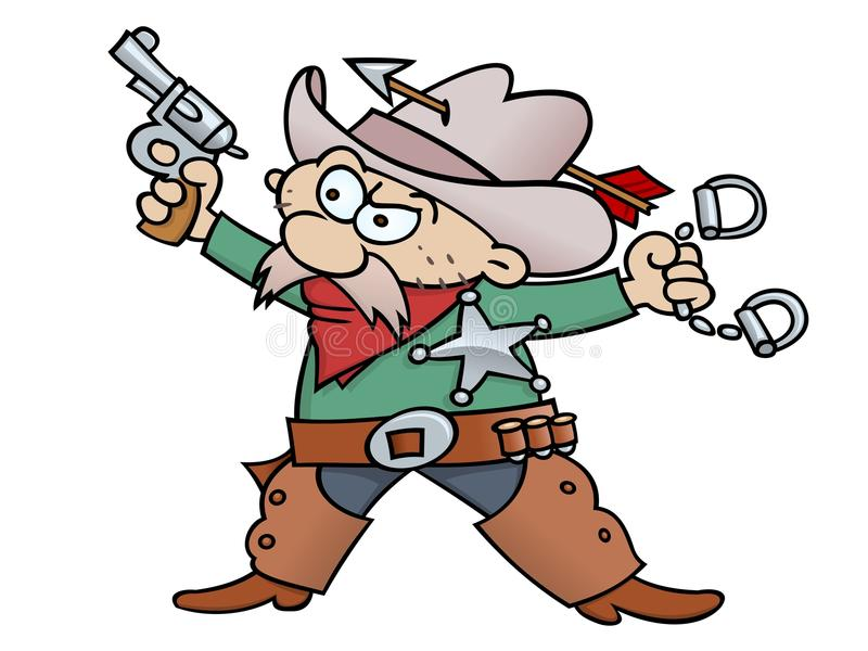 Sheriff. Cartoon sheriff with handcuffs, revolver, and tin star, wearing chap and cowboy hat penetrated with an arrow. RGB graphic vector illustration