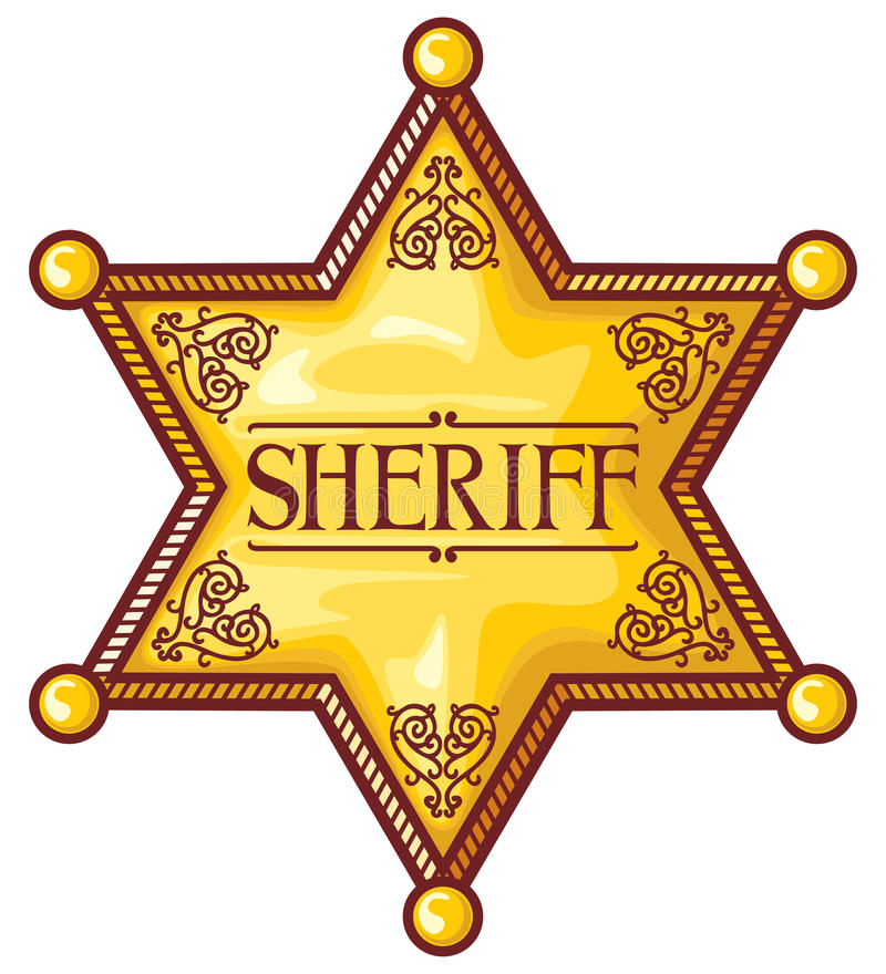 Sheriff. Vector sheriff's star, sheriff badge, sheriff shield stock illustration
