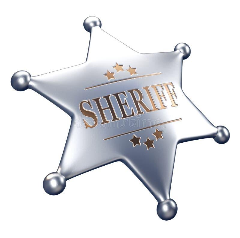 Sheriff badge. 3d render illustration - sheriff badge isolated on white royalty free illustration