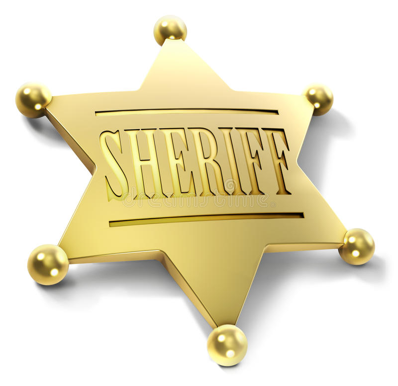 Sheriff badge. Illustration of a gold sheriff star vector illustration
