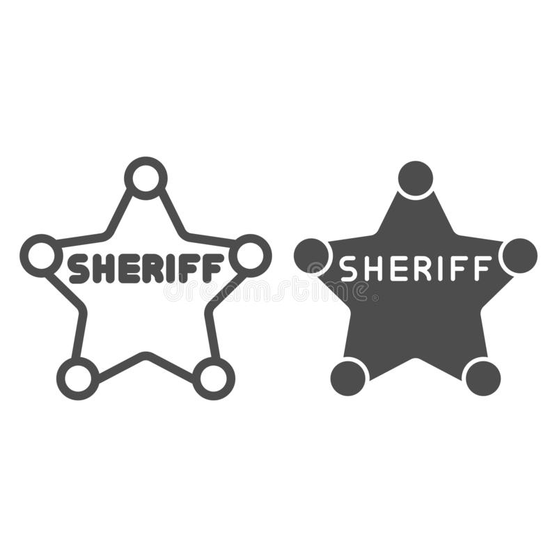 Sheriff badge line and glyph icon. Police badge vector illustration isolated on white. Star outline style design stock illustration