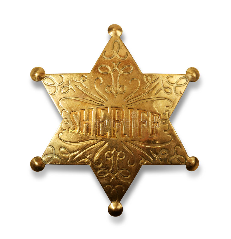 Sheriff badge with path royalty free stock photo