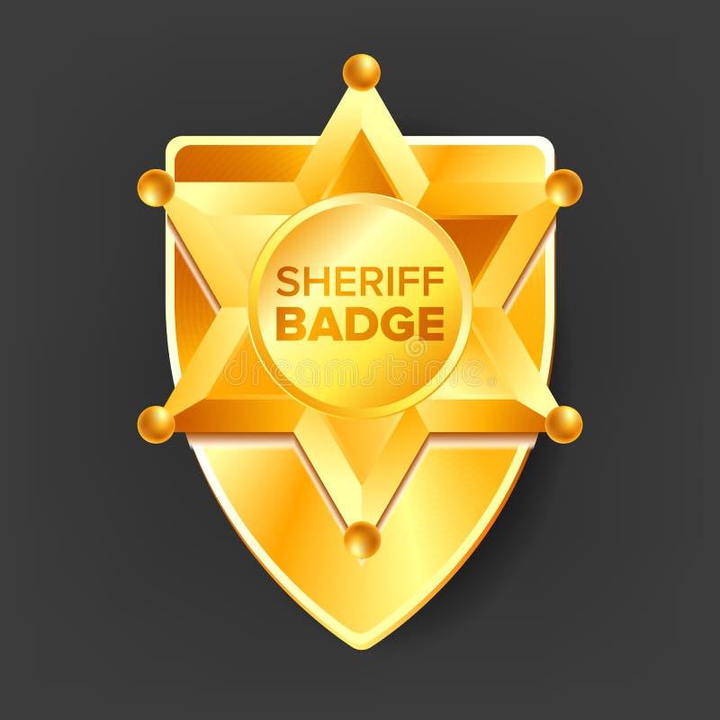 Sheriff Badge Vector Gouden ster Westelijke Stijl 3d realistische illustratie stock illustratie