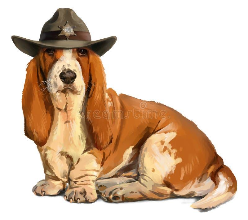 Sheriff Basset hound. Watercolor painting stock illustration