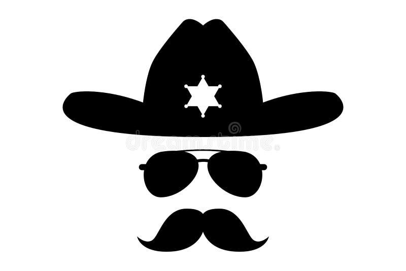 Sheriff with bushy mustache. Usa cowboy Sheriff in glasses mask vector illustration