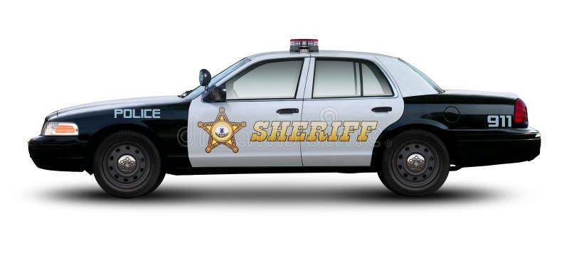 Sheriff car side view. Sheriff car side view isolated on white background royalty free stock image