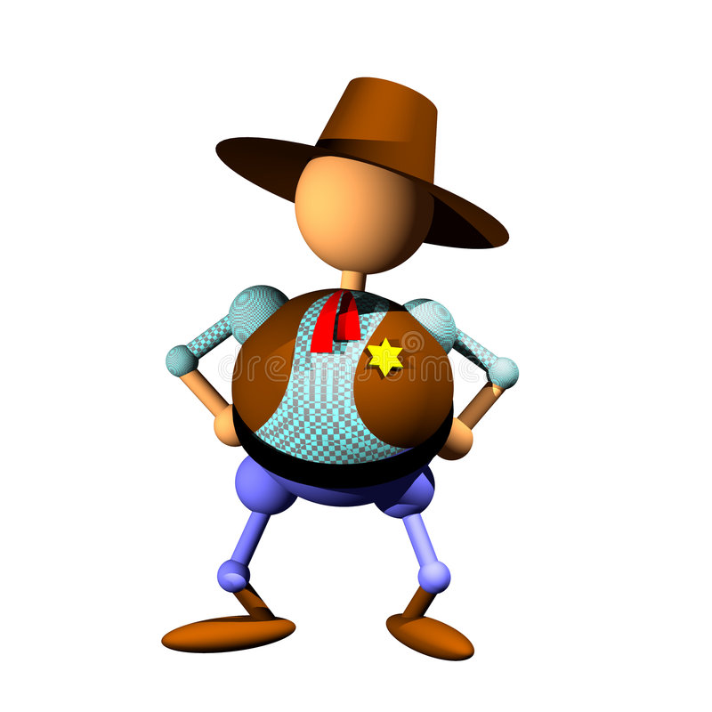 Sheriff clipart. Cowboy figurine clipart, computer generated 3D icon of sheriff with star badge and cowboy hat royalty free illustration