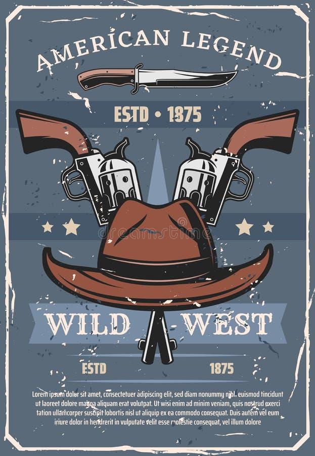 Sheriff del oeste salvaje o armas y sombrero occidentales del vaquero stock de ilustración
