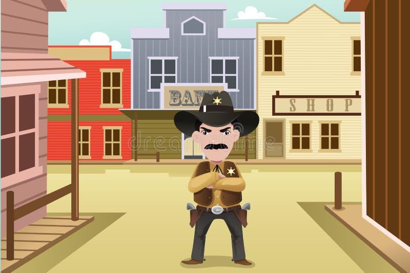 Sheriff die zich op een oude westelijke stad bevinden vector illustratie