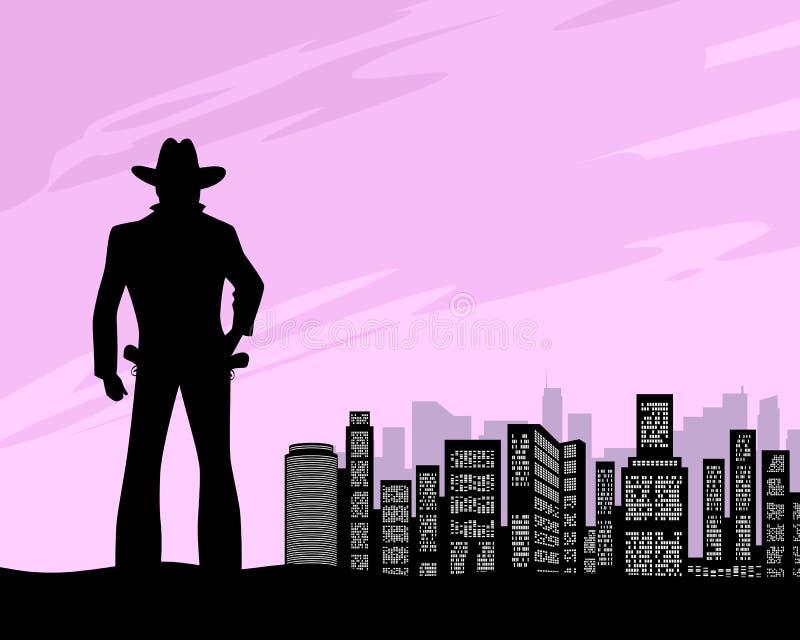 Sheriff en el fondo de la ciudad ilustración del vector