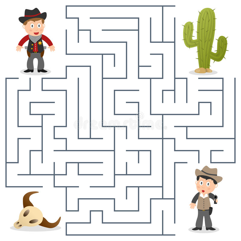 Sheriff & Gewild Labyrint voor Jonge geitjes royalty-vrije illustratie