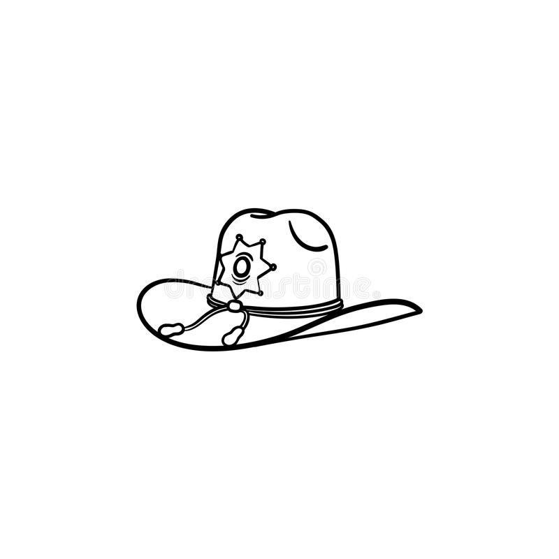 Sheriff hat hand drawn outline doodle icon. Police authority, county sheriff, law concept. Vector sketch illustration for print, web, mobile and infographics royalty free illustration