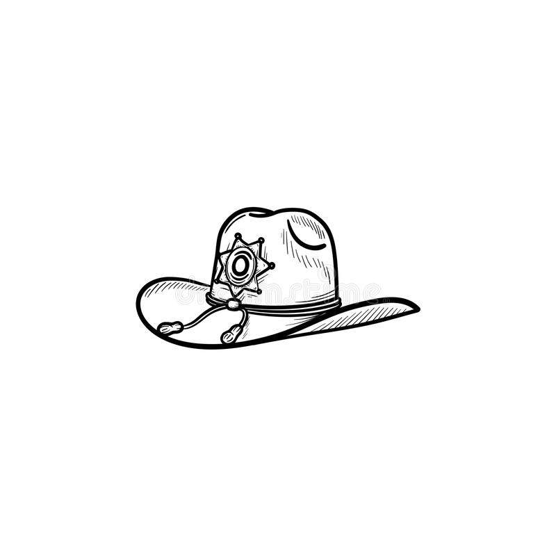Sheriff hat hand drawn outline doodle icon. Police authority, county sheriff, power concept. Vector sketch illustration for print, web, mobile and infographics vector illustration