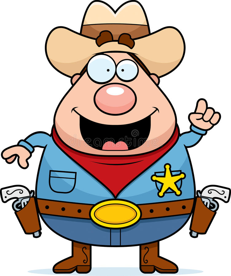 Sheriff Idea. A happy cartoon sheriff with an idea vector illustration