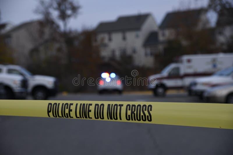 Sheriff line setup to protect a crime scene stock photography