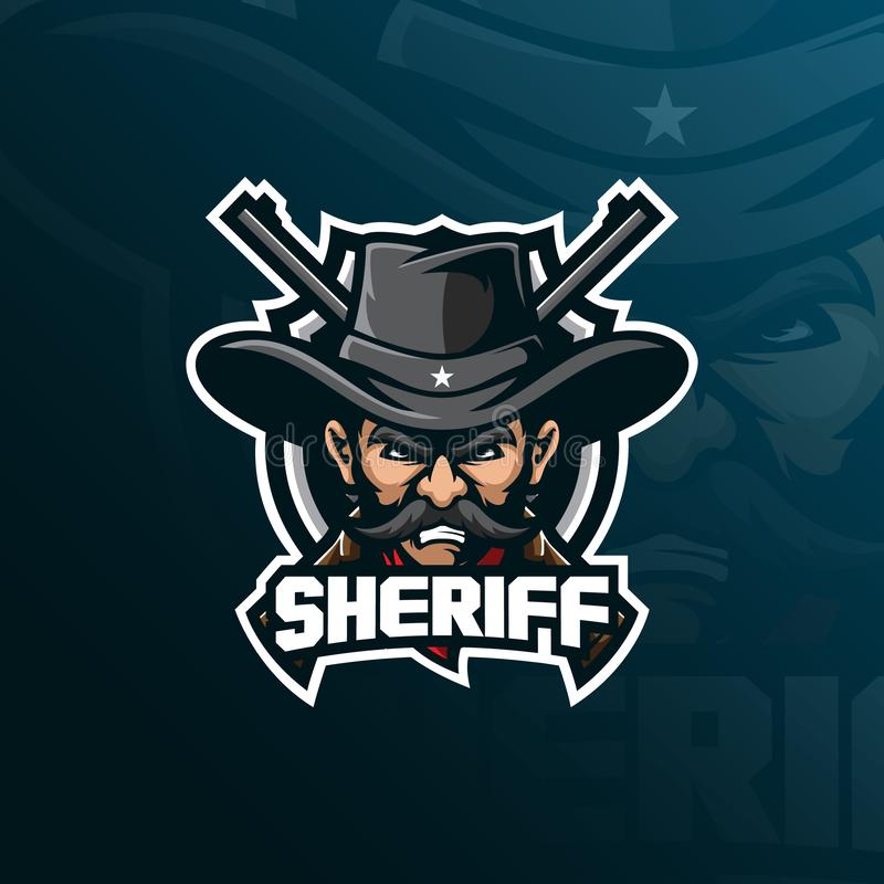 Sheriff mascot logo design vector with modern illustration concept style for badge, emblem and tshirt printing. sheriff. Illustration with a guns vector illustration